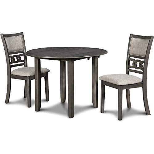 New Classic FURNITURE Gia Drop Leaf Dining Table with Two Chairs, 42-Inch, Gray, Set