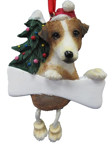 Jack Russell Ornament with Unique 'Dangling Legs' Hand Painted and Easily Personalized Christmas Ornament