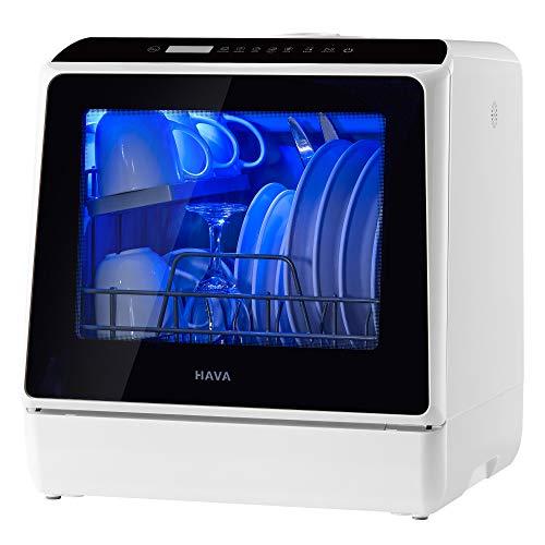hava Lavavajillas portátil compacto con depósito de agua integrado de 5 litros y manguera de entrada, 5 programas, cuidado del bebé, función de secado y luz para apartamentos, dormitorios y caravanas.