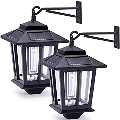 2 Pack Solar Wall Lanterns with 4 Solar Panels, Dusk to Dawn Led Outdoor Wall Sconce , Anti-Rust Waterproof Wall Lanterns, 3000K Warm White, Matte Black Powder Coat + UV Protection