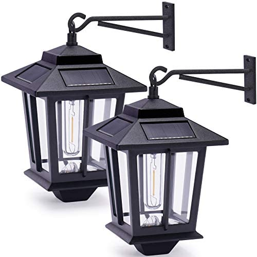 2 Pack Solar Wall Lanterns with 4 Solar Panels Dusk to Dawn Led Outdoor Wall Sconce Anti Rust product image