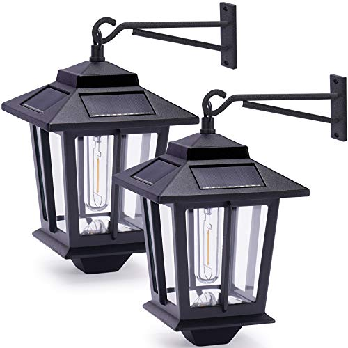 2 Pack Solar Wall Lanterns with 4 Solar Panels, Dusk to Dawn Led Outdoor Wall Sconce , Anti-Rust Waterproof Wall Lanterns Aluminum, 3000K Warm White, Matte Black Powder Coat + UV Protection