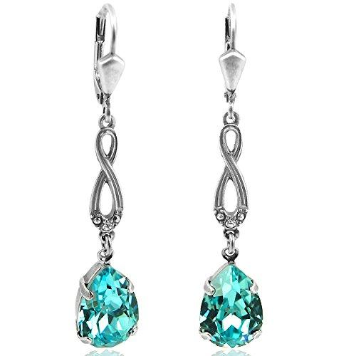 Jugendstil Ohrringe mit Kristallen von Swarovski Silber Türkis NOBEL SCHMUCK