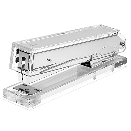 Acrylic Clear Stapler - Silver Stapler Makes a Cool Office Desk Accessory for Office, Home, or School - Uses Standard Staples