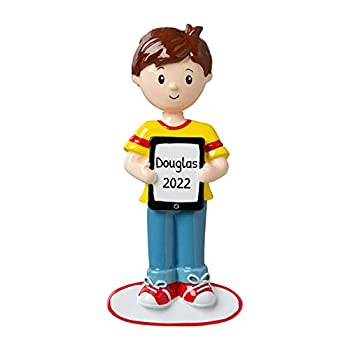 Personalized Boy with Touch Tablet Christmas Tree Ornament 2021 - Game New Addict Love Hobby Selfie Social Share App Fun Kid Angry Star Crush Play Movie Grand-Son Teen I-Pad - Free Customization