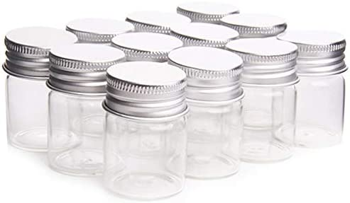 12 Pcs Empty Clear Glass Bottles with Screw Aluminum Cap Mini Container Jars for Essential Oil product image