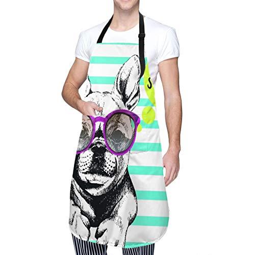 DAHALLAR Ajustable Personalizado Delantal Impermeable,Retrato de Bulldog Francés con las gafas de sol brillante Hola verano perro doméstico rayas cerúleas,Babero de Cocina Vestido con 2 Bolsillos
