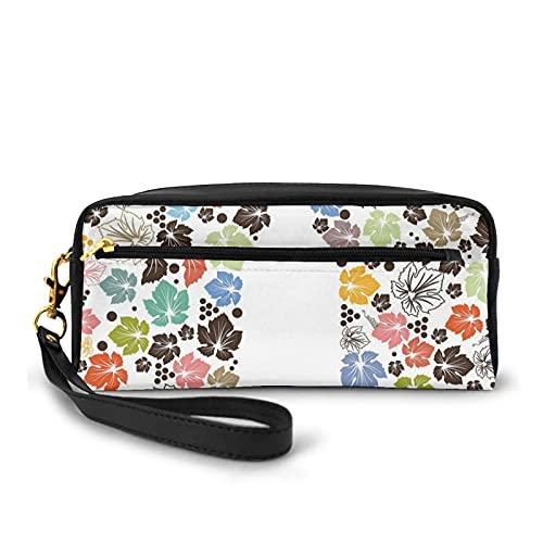 Con bolsa de lápiz con cremallera,Colorido estilo otoño naturaleza inspirado hojas caídas con puntos y forma de botella,Estuche pequeño maquillaje bolsa