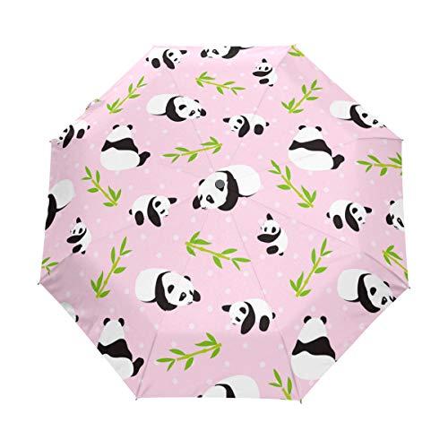 LASINSU Paraguas automático de Apertura/Cierre,Oso Panda Vector Fondo Patrones Sin Fisuras,Paraguas pequeño Plegable a Prueba de Viento, Impermeable
