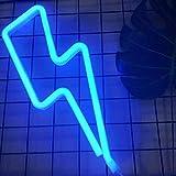 Luces de neón Rayo LED Letreros de pared Decoración de la habitación Luces nocturnas con batería y USB para niños Habitación de bebé Manguera bar boda Partido Decoración (Lightning-blue)
