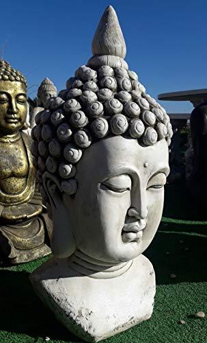 DEGARDEN AnaParra Figura Cabeza Buda Razón para el jardín Decorativa 61cm. hormigón Color Ceniza