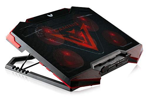 SKGAMES Notebook Laptop Kühler Gamer Kühlpad Cooler Ständer Unterlage für 12-17 Zoll, 5 x LED Lüfter, 6 Stufen Höhenverstellung, Schwarz