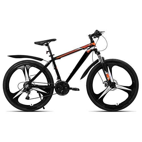 berglink 26 Inch 21 Speed Aluminum Alloy Suspension Bike, Double Disc Brake Mountain Bike Bicycle Black spoke wheel