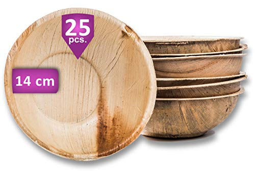 Waipur Bio Palmblattschalen - 25 Schalen Ø 14 cm / 400 ml - Premium Einweggeschirr kompostierbar - Einweg Suppenteller - ähnl. Bambus Schalen