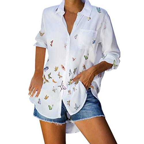 Barnrae Butterfly Print Pocket T-Shirt, Fashionable Womens Long Sleeve Lapel Button Casual Blouse Tops(White,S)