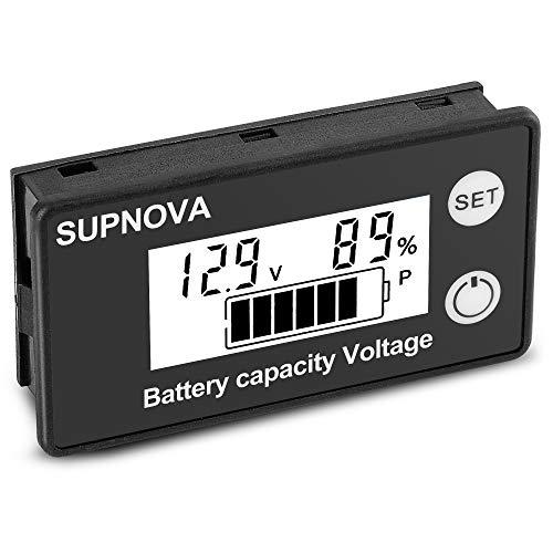 SUPNOVA Battery Monitor12v 24v 36v 48v 60v 72v 84v,Car Motorcycle Golf cart Battery Meter Digital Battery Capacity 8-100V Voltage Monitor Remaining Capacity Percentage Tester with Buzzer Alarm(White)