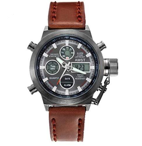 AMST Herren Analog-Digital Quarz Sehen Sport Leder Armband 3013