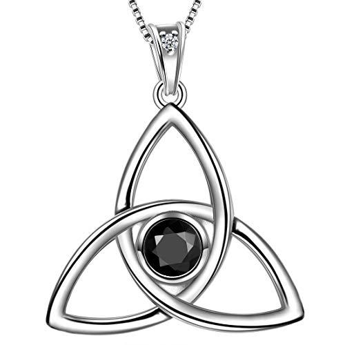 Aurora Tears Celtic Necklace Women 925 Sterling Silver Celtic Knot Pendant Black Crystone Irish Celtic Symbols Jewelry DP0144K