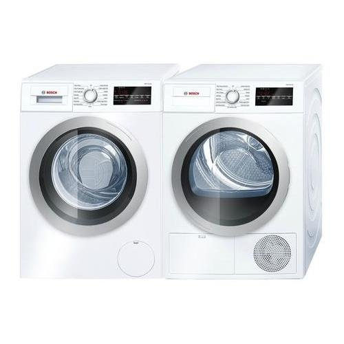 500 Series White Front Load Compact Laundry Pair with WAT28401UC 24 Washer and WTG86401UC 24 Electric Condensation Dryer