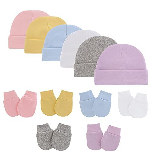 SUNNOOP Baby Beanie Baby Hats Newborn Hat Infant Hat Mittens for Newborn Beanie Hat No Scratch Mittens Toddler Hat Gloves 12 Pcs