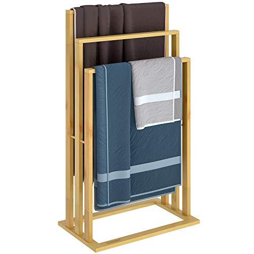 Casaria Handtuchhalter Bambus 3 Bambusstangen treppenförmig Handtuchständer Handtuchstange freistehend Badezimmer