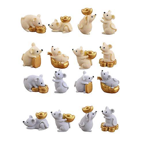 MISAZ 16 Pieces Miniature Mouse Figure Animal Rat Toys Decorations, Micro Landscape Decor Office Table Desk DIY Figurines Resin Money Rats Ornaments Statue