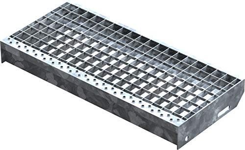 Fenau | Gitterrost-Stufe (R11) XSL – Maße: 600 x 270 mm, MW: 30/30 mm, Vollbad-Feuerverzinkt, Stahl-Treppenstufe nach DIN-Norm, Fluchttreppen geeignet, Anti-Rutsch-Wirkung