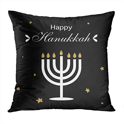 Moladika Hanukkah Throw Pillow Cover Square 18 x 18 Inch Happy Logotype Badge Gold Black Candles Cushion Home Decor Living Room Sofa Bedroom Office Polyester Pillowcase