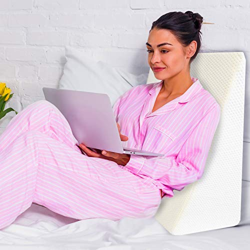 Wedge Bed Pillow - Elevated Supportive Cushion - 28' x 24' x 7.5' - Adjustable Pillowcase -...