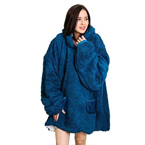Roore Oversized Sherpa Wearable Blanket Hoodie | Super Soft Warm Reversible Hooded Sweatshirt Thick Plush Giant Pullover Fleece Sweater for Adult Men Women Teens Kids (Blue)