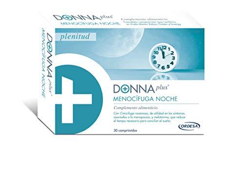 DonnaPlus Menocífuga Noche 30 comprimidos, complemento alimenticio para la mujer en la menopausia. Cimicífuga racemosa, Melatonina, GABA y Vitaminas K2, D3, B6, B9 y B12. 1 Cápsula por la noche.