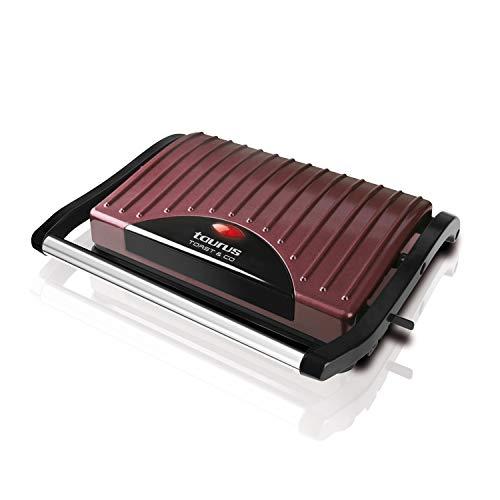 Taurus Toast&Co - Grill électrique 700W, Sandwich et croque monsieur, Plaques anti-adhésives, Crochet de fermeture fixe, Bac à graisse, Bordeaux