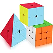 Speed Cube Set,Vdealen Professional Magic Cube Set of 2x2x2 3x3x3 Stickerless Pyramid Puzzle Cube Bundle of Puzzle Toys