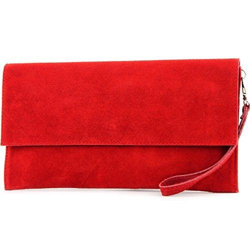 modamoda de - cuero italiano de embrague T151 Pequeño Gamuza, Color:rojo