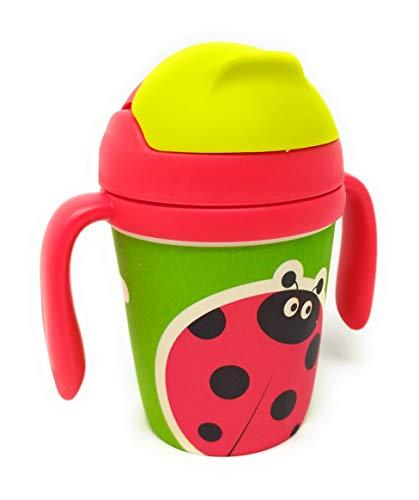 Vasos con boquilla y pajita de Bambú para niños de entre 1 a 4 años libre de BPA | 300ml | 13cm x Ø 7cm (Rojo)