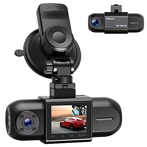 Campark Dash Cam Telecamera per Auto Dual FHD 1080P anteriore e posteriore, Dashcam auto con GPS e batteria, visione notturna IR, Sensore G Videocamera auto con WDR Registrazione Loop max. 256GB