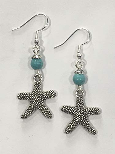 Starfish Earrings, Beach Earrings, Nautical Earrings, Coastal Earrings with turquoise stone accent beads, on sterling silver earrings
