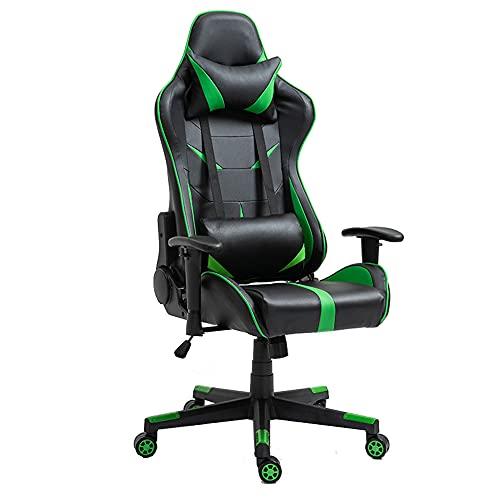 CHENPENG Sedia da Gioco Sedia da Gioco ergonomica per Computer Sedia da Gioco Regolabile in Pelle PU Sedia reclinabile con poggiatesta e Cuscino Lombare Sedia per e-Sport,Verde