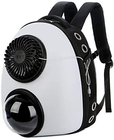 N / A Bolsa cápsula Espacial Animales Mochila con un pequeño Ventilador, Ventana Transpirable portátil Durable Malla Cachorros externos portátiles semiesféricas,Blanco