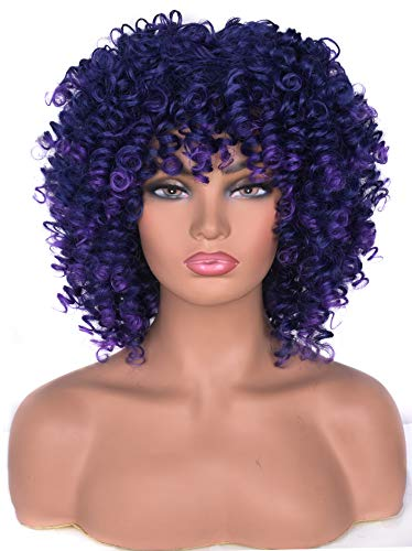 Lizzy Short Afro Curly Wigs for Black Women Full Synthetic Natural Blue with Purple Afro Kinkys Curly Wig with Bangs Shoulder Length Heat Resistant Wigs for Daily Use