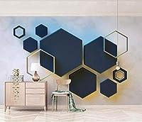 XSJ 壁紙カスタム写真壁画3D幾何学的六角形モザイクステッチTV背景壁紙家の装飾-150X105CM