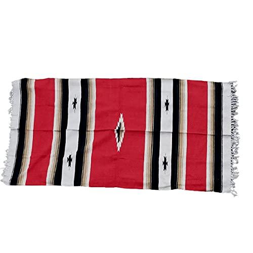エルパソ サドルブランケット EL PASO SADDLEBLANKET CO. 10色 New West Diamond Center Falsa Blanket メキシカン ラグ (1/red (赤)) [並行輸入品]