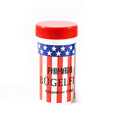 PHIMAGO Bügelfix ® 1 x 65ml Nähpulver Bügelpulver Einzelset - Nähen ohne Nadel oder Faden - z.B. zur schnellen Reparatur von Kleidung