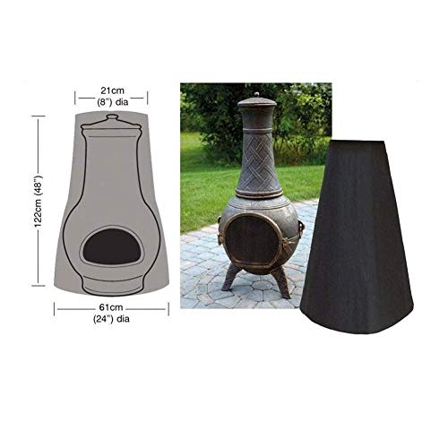 Qivor Furniture Cover LXLA - Chiminea Cover - Premium Outdoor Chimney Fire Pit Heater Cover, Black Waterproof 210D Oxford Material