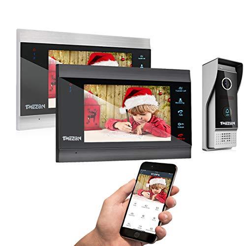 TMEZON Sistema de intercomunicación inalámbrico de 7 Pulgadas con Sistema de intercomunicación de videoportero Inteligente y WiFi IP con Sistema de Entrada de Timbre con 2 monitor1x1080PCámara