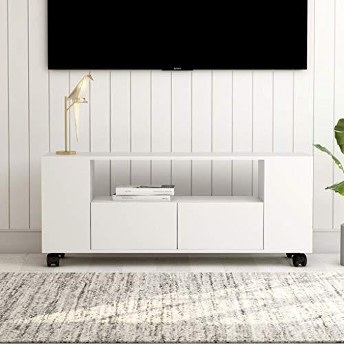 UnfadeMemory Mueble para TV con Ruedas y 2 Cajones,Mueble de Hogar,Madera Aglomerada,120x35x43cm (Blanco)