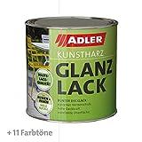 ADLER Kunstharz Glanzlack - Weiß 750 ml - Erstklassiger Lack glänzend, geruchsarm mit guter...
