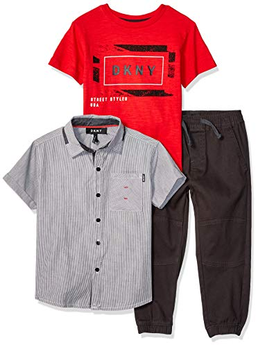 DKNY Boys' Little Short Sleeve Woven, T-Shirt, and Pull-On Pant, Big Apple Griffin, 5
