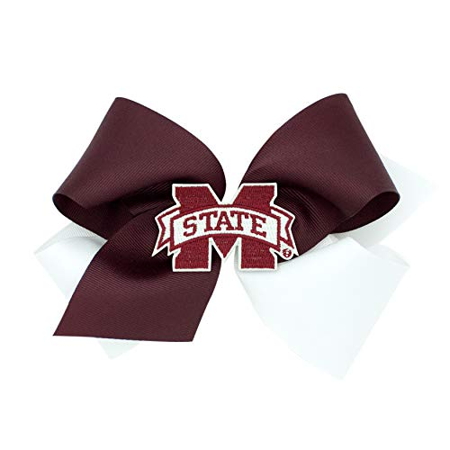 Wee Ones Girl's King Size Two-Tone Grosgrain & Glitter NCAA Logo Game Day Hair Bow, Mississippi State University