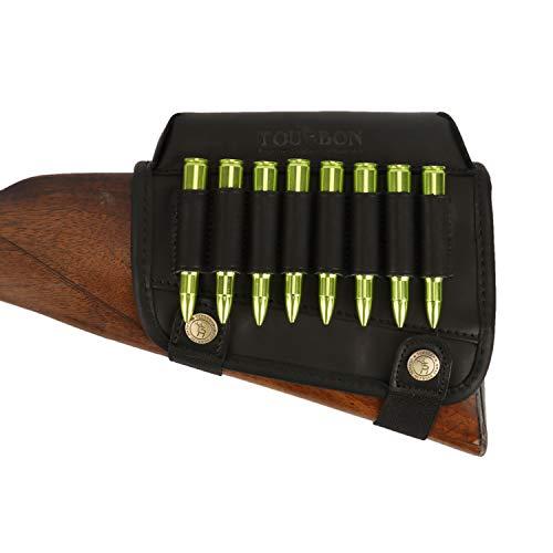 TOURBON Hunting Shooting Buttstock Ammo Cartridge Holder Rifle Cheek Rest Riser Pad (Black Genuine Leather for Left Handed)